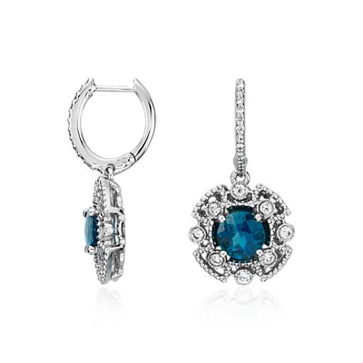 London Blue Topaz and Diamond Drop Earrings in 14k White Gold