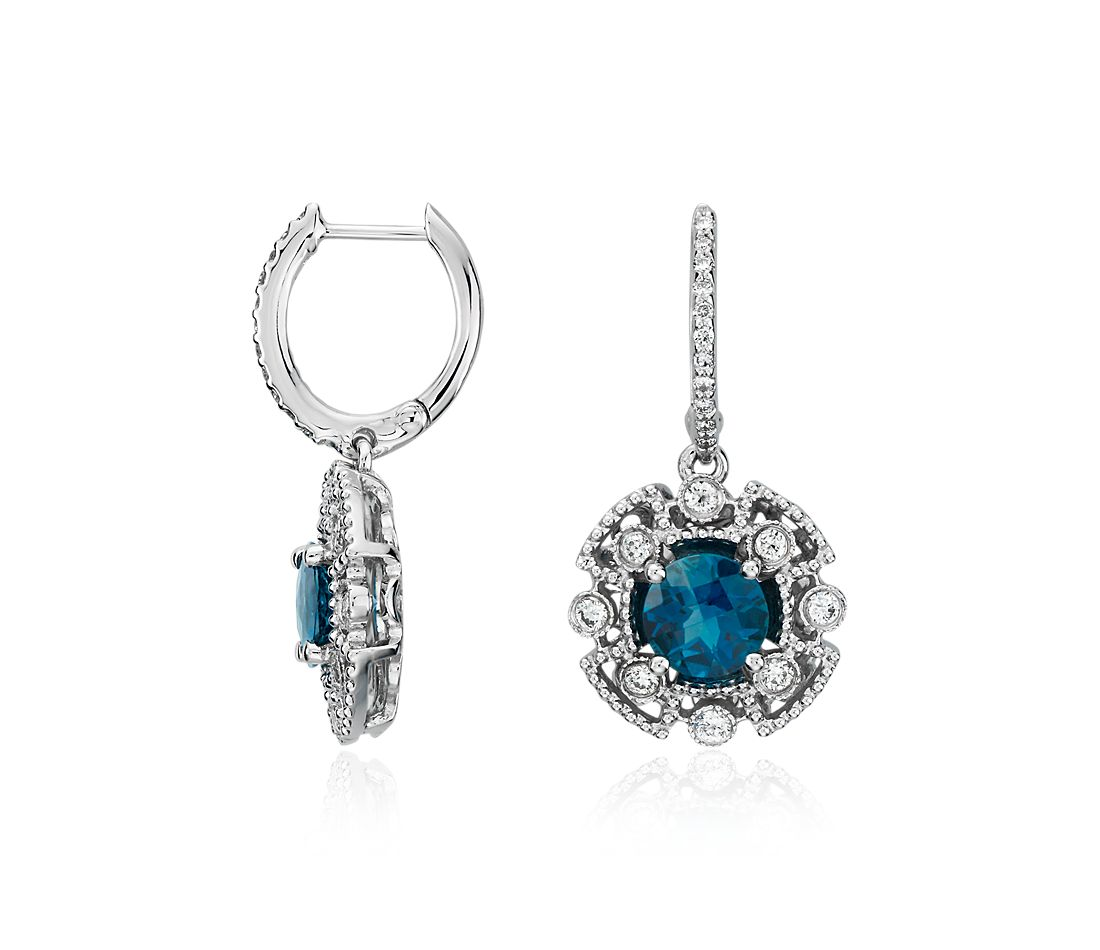 London Blue Topaz and Diamond Drop Earrings in 14k White Gold (6mm)