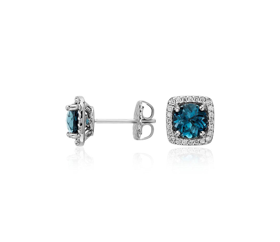 Aretes de diamante talla cojín y topacio azul Londres en oro blanco de 14k