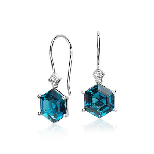 London Blue Topaz Hexagon and Diamond Drop Earrings 14k White Gold