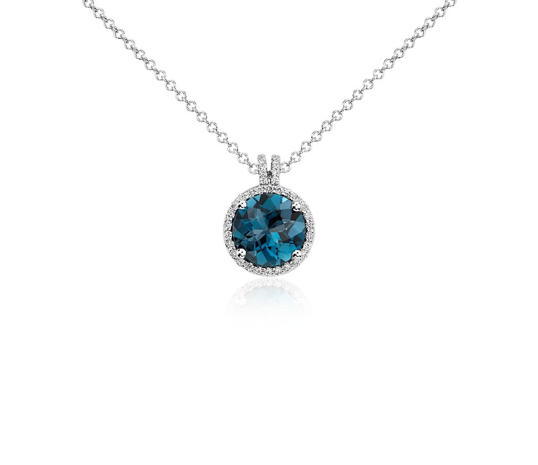 London Blue Topaz and Diamond Halo Pendant in 14k White Gold