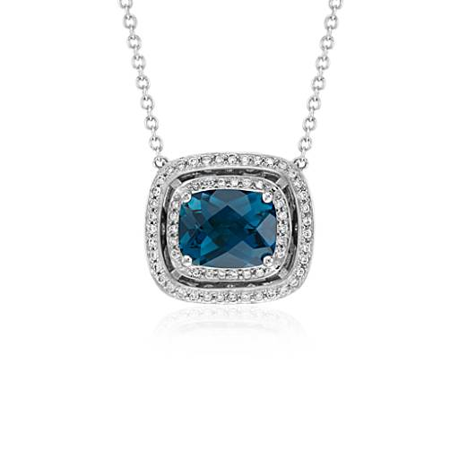 London Blue Topaz Double Halo Necklace in 14k White Gold