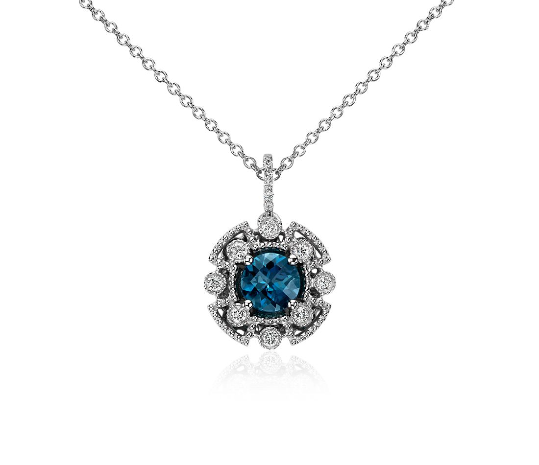 London Blue and Diamond Pendant in 14k White Gold