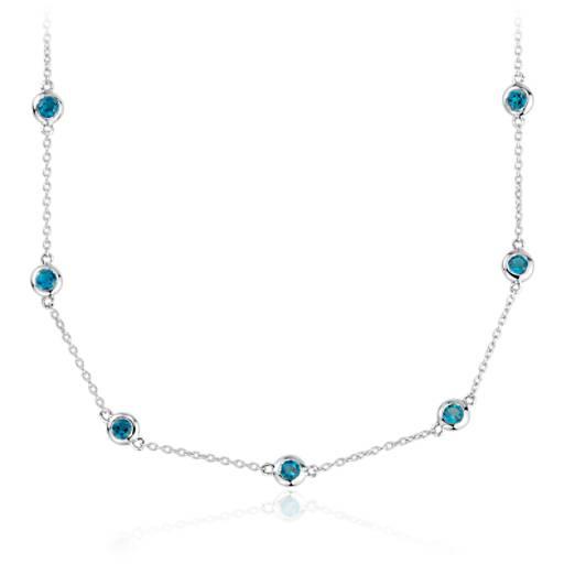 Collar con topacio azul Londres enhebrado en plata de ley (3mm)