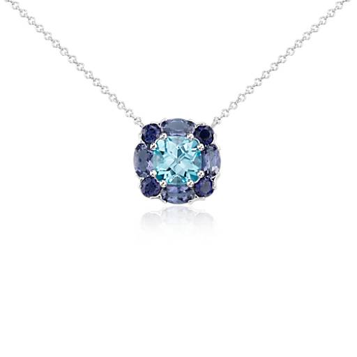 London Blue Topaz and Iolite Cluster Pendant in 14k White Gold