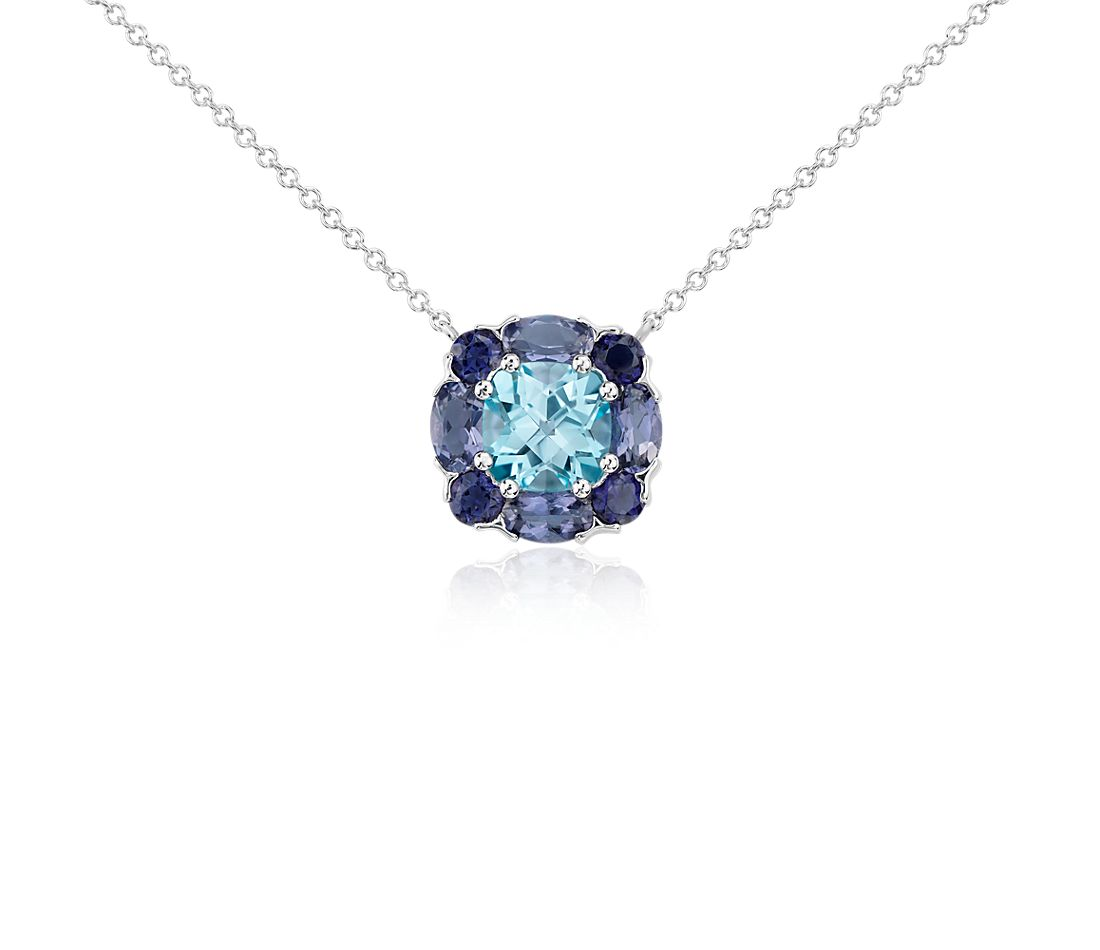 London Blue Topaz and Iolite Cluster Pendant in 14k White Gold (7x7mm)