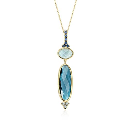 Elongated Blue Topaz Necklace in 18k Yellow Gold (18x6mm)