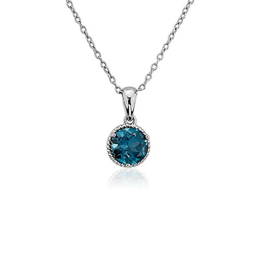 London Blue Topaz Rope Pendant in Sterling Silver (7mm)