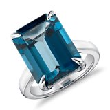 London Blue Topaz Rectangular Ring in Sterling Silver