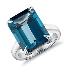 London Blue Topaz Rectangular Ring in Sterling Silve