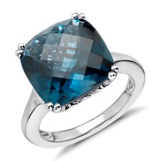 London Blue Ring in Plata de ley