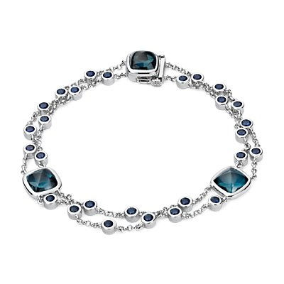 Blue Nile Studio London Blue Topaz and Sapphire Bracelet in 18k White Gold