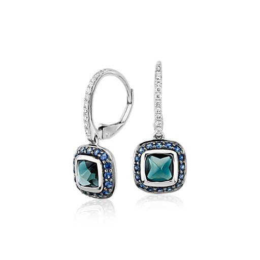 Blue Nile Studio London Blue Topaz and Sapphire Drop Earrings with Pave Detailing in 18k White Gold (5mm)