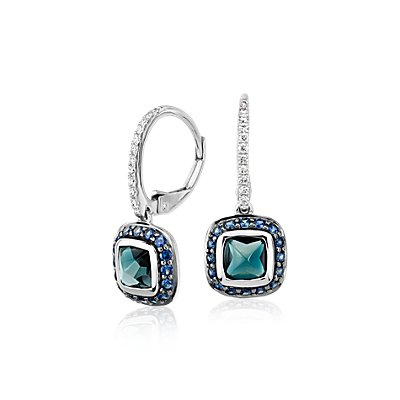 Blue Nile Studio London Blue Topaz and Sapphire Drop Earring