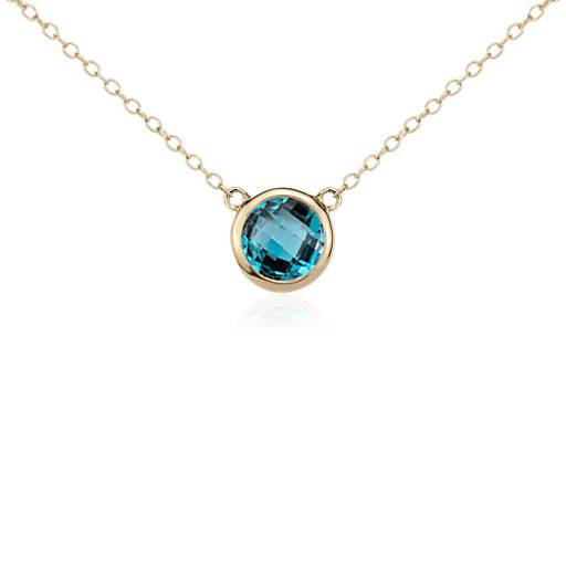 Collier solitaire topaze bleu de Londres en or jaune 14 carats (8 mm)