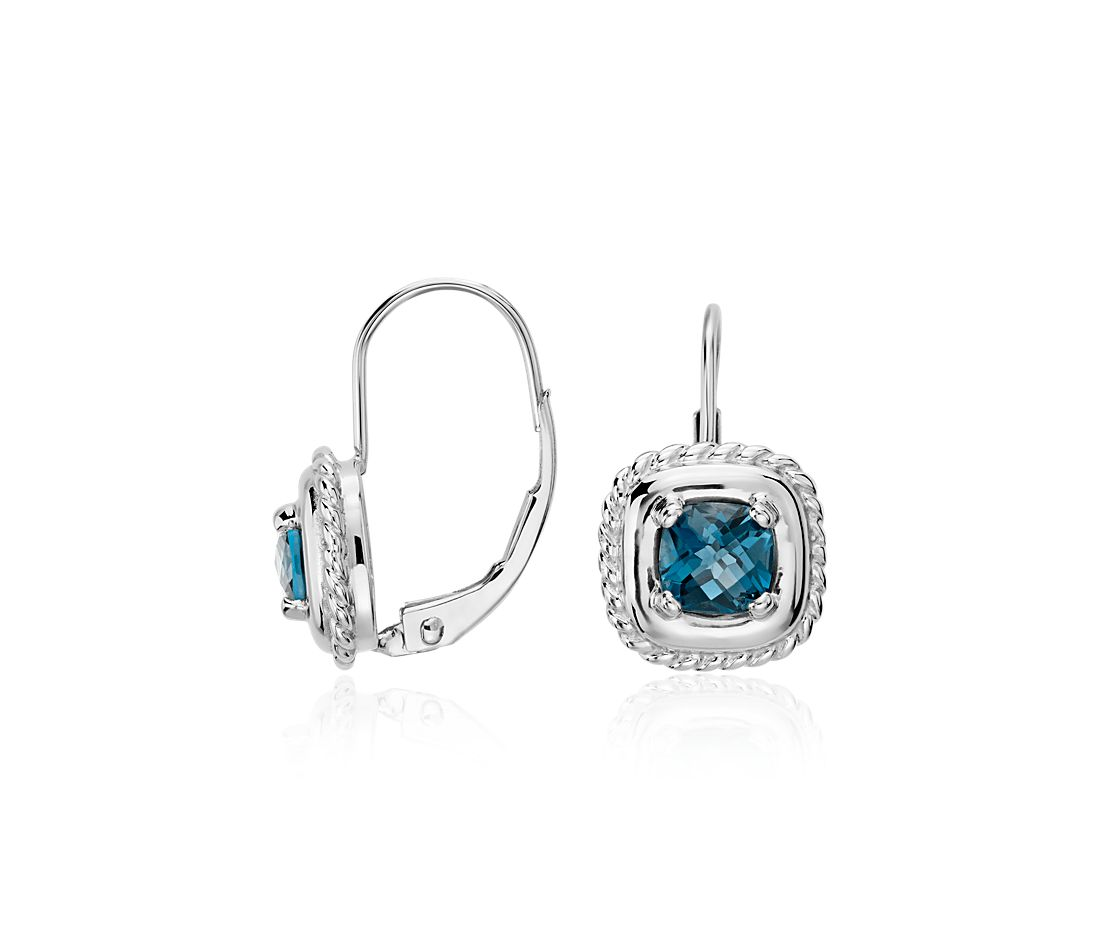 London Blue Topaz Square Roped Drop Earrings in 14k White Gold