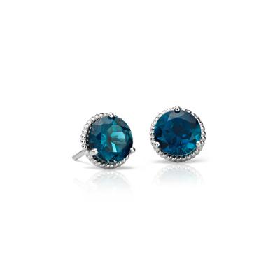 Puces d'oreilles corde topaze bleu londonien en argent sterling (7mm)
