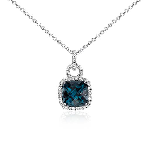 London Blue Topaz and White Sapphire Halo Cushion-Cut Pendant in Sterling Silver