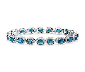 London Blue Topaz and White Topaz Halo Bracelet in Sterling Silver