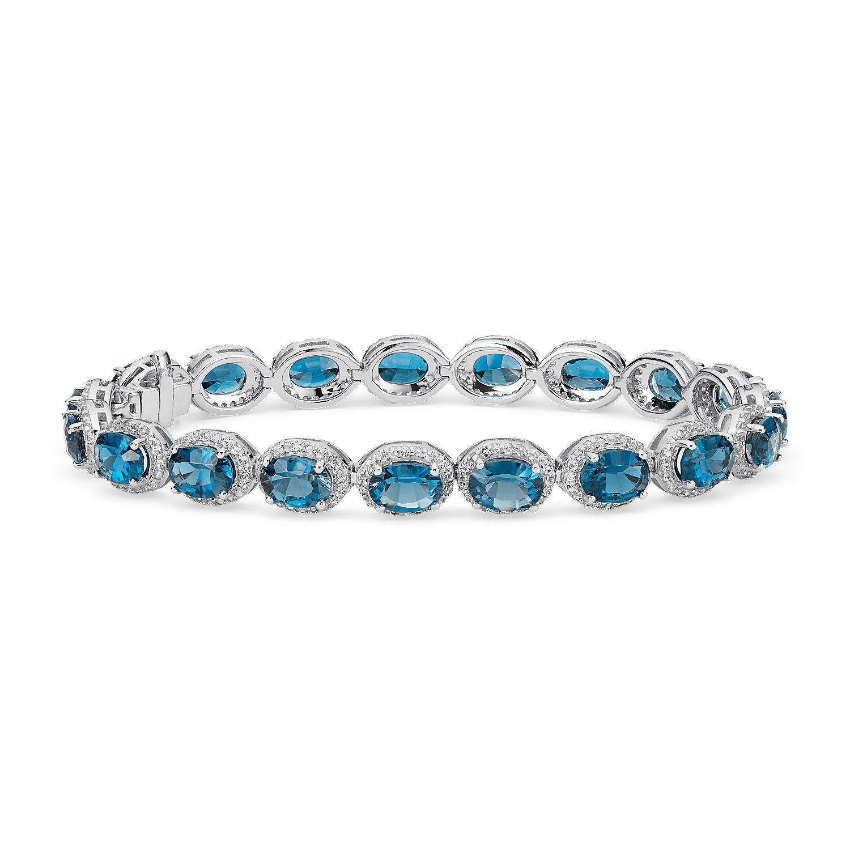 Bracelet halo topaze bleu de Londres et topaze blanche en argent sterling (7x5mm)