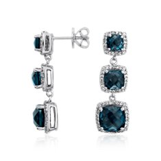 London Blue Triple Halo Drop Earrings in Sterling Silver