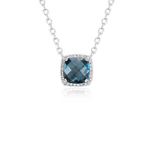 London Blue Topaz Halo Necklace in Sterling Silver