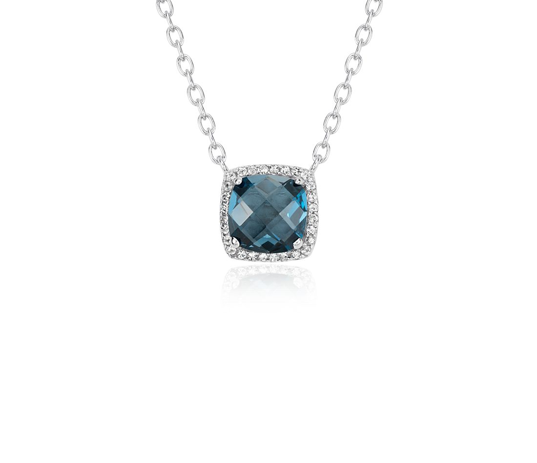 London Blue Topaz Halo Necklace in Sterling Silver (8x8mm)