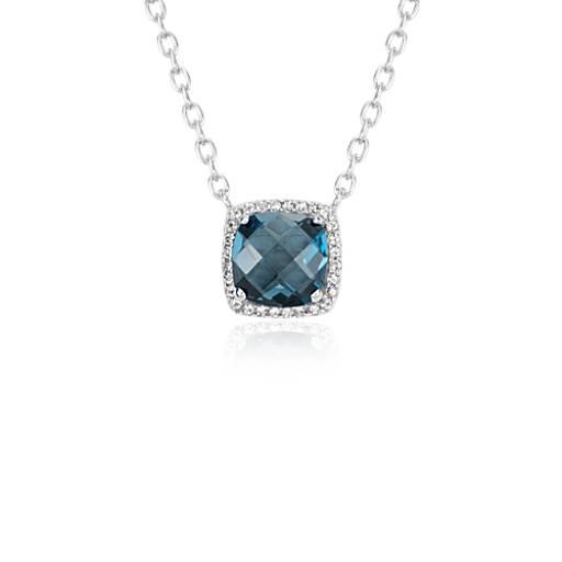 Collar con halo de topacios azul Londres en plata de ley (8mmx8mm)