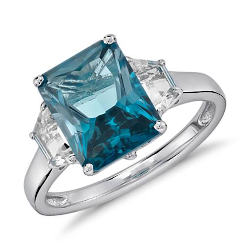 London Blue Topaz and White Topaz Radiant Cut Ring in Sterling Silver