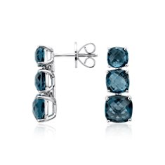 London Blue Triple Drop Stud Earrings in Sterling Silver