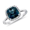 London Blue Topaz and White Sapphire Halo Cushion-Cut Ring in Sterling Silver