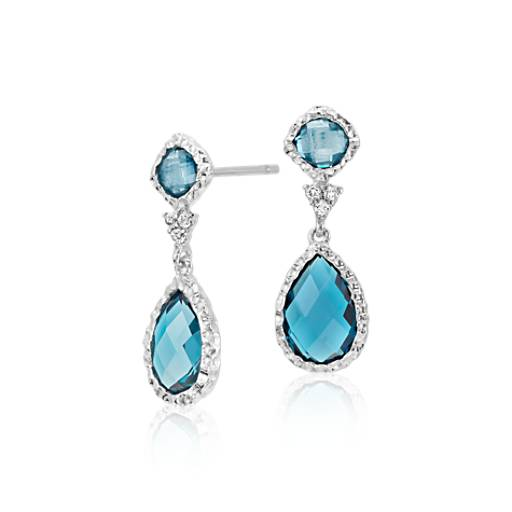 London Blue Topaz and White Topaz Dangle Earrings in Sterling Silver