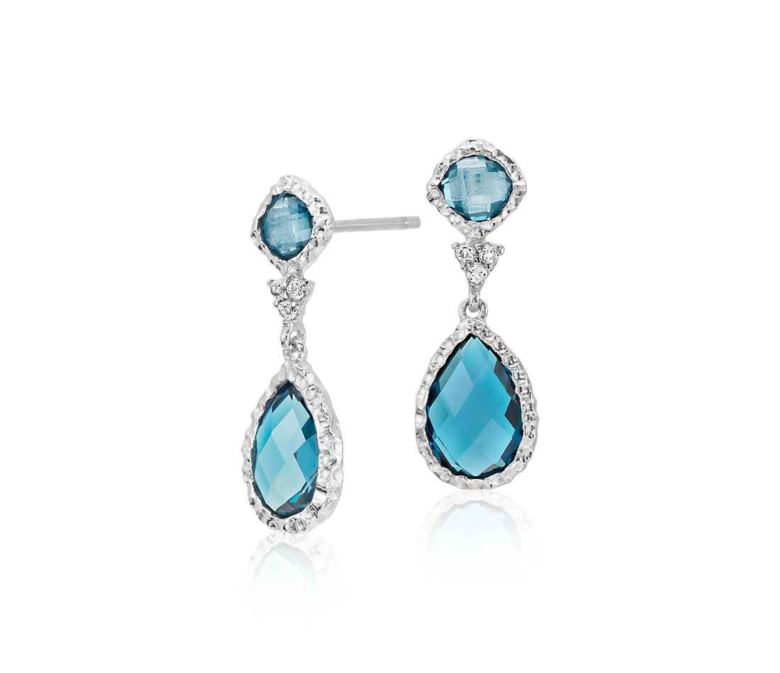 London Blue Topaz and White Topaz Dangle Earrings in Sterling Silver (9x6mm)