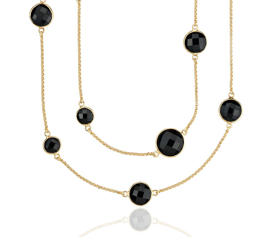 Long Black Spinel Necklace in Gold Vermeil