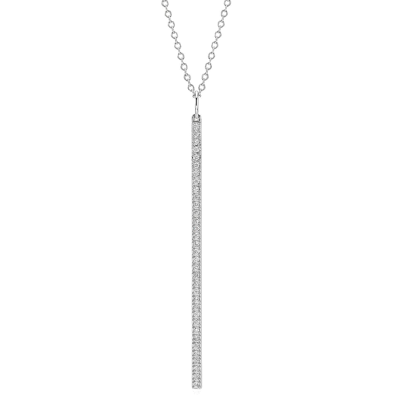 """Long Diamond Bar Pendant in 14k White Gold - 30"""" (1/4 ct. tw.)"""