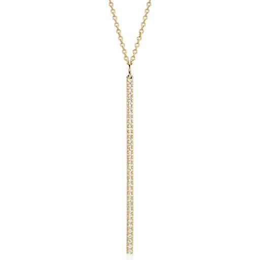 "NEW Long Diamond Bar Pendant in 14k Yellow Gold - 30"" (1/4 ct. tw.)"
