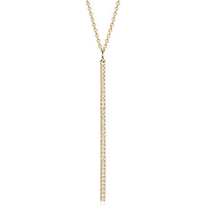 NEW Long Diamond Bar Pendant in 14k Yellow Gold - 30""