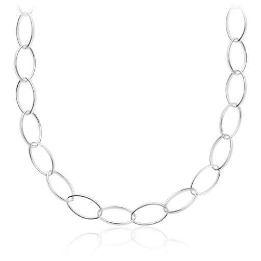 Long Linked Necklace in Sterling Silver (30