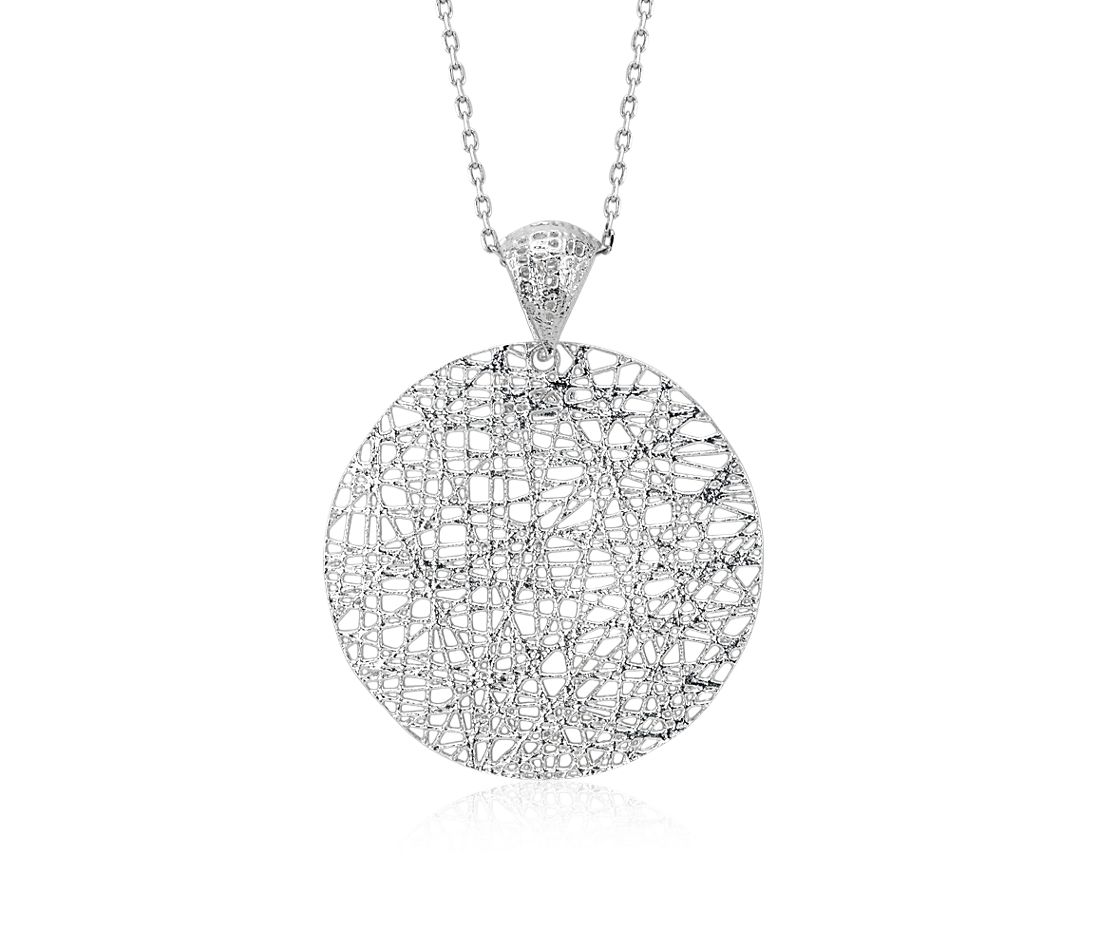 Woven Disc Basket : Delicate long woven disc pendant in sterling silver