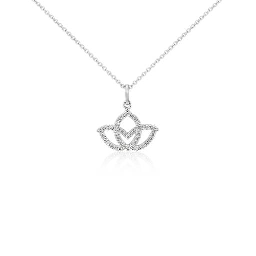 Mini Lotus Pavé Diamond Pendant in 14k White Gold