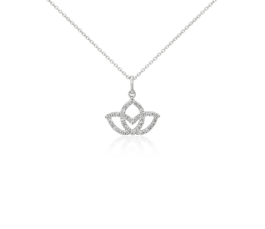 Mini Lotus Pave Diamond Pendant in 14k White Gold