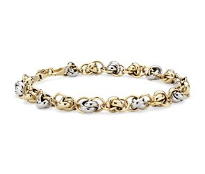 Love Knot Bracelet in 14k Yellow and White Gold
