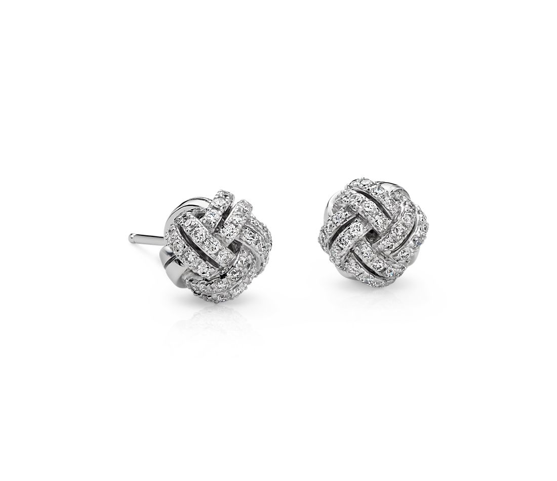 Love Knot Diamond Earrings in 14k White Gold