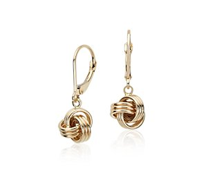 Love Knot Earrings in 14k Yellow Gold
