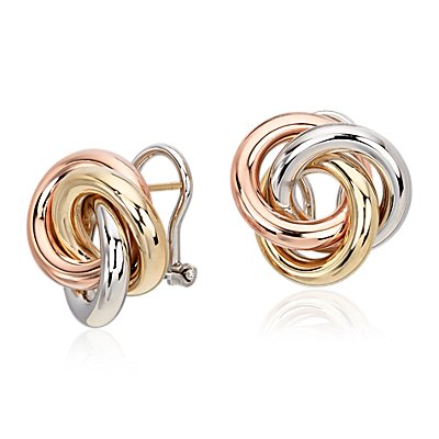 Oversized Love Knot Stud Earring in 14k Tri-Color Gold