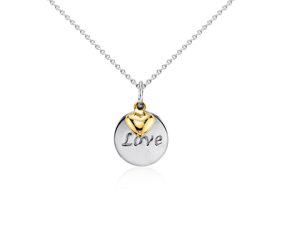 Pendentif disque Love en argent sterling avec Cœur en or jaune 14carats