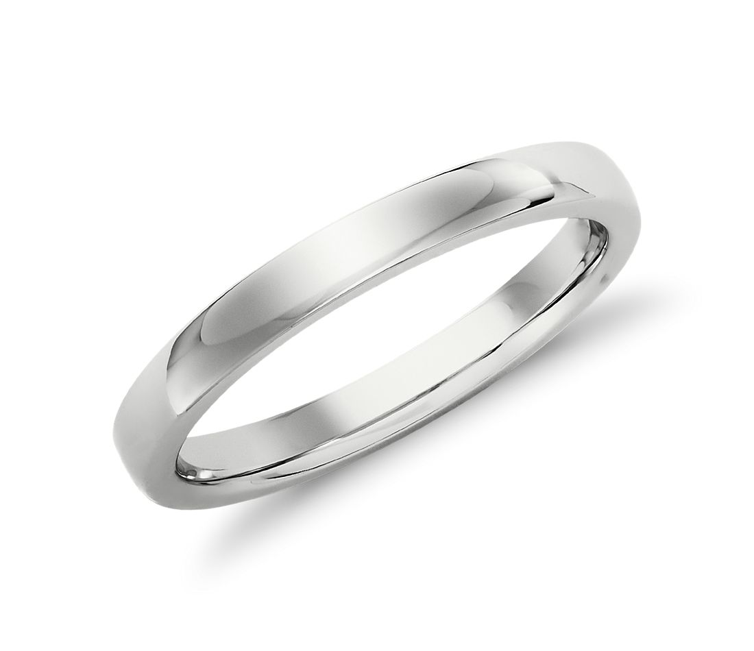 Alliance confort dôme simple en or blanc 14 carats (2,5 mm)