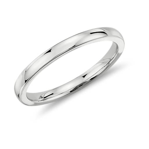 Low Dome Comfort Fit Wedding Ring in 18k White Gold (2mm)