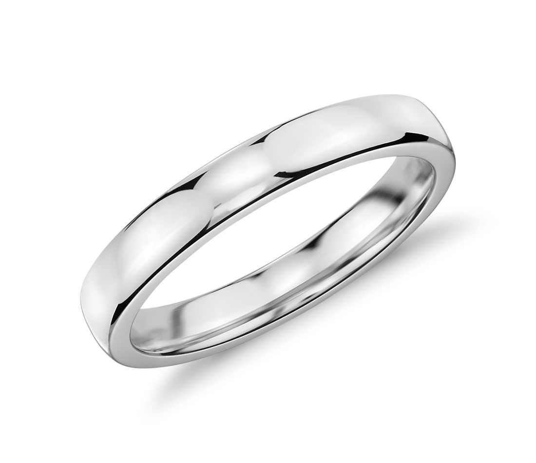 Alliance confort dôme simple en or blanc 18 carats (3 mm)