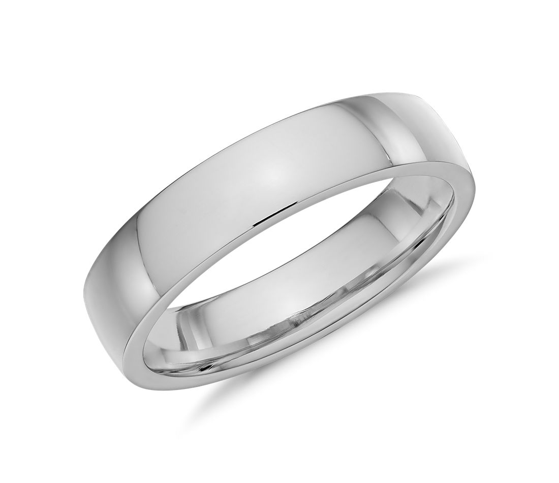 Low Dome Comfort Fit Wedding Ring in 14k White Gold (5mm)